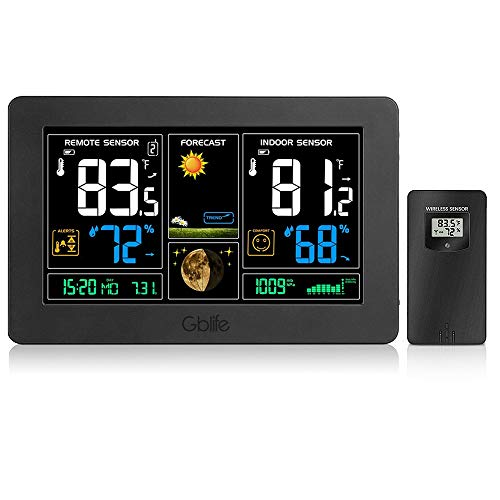 GBlife PT-3378 Wireless Weather Station, Indoor Outdoor Thermometer Hygrometer, Weather Forecast Station with Large Color LCD, Remote Sensor, Temperature Humidity Monitor/Alerts, Alarm Clock