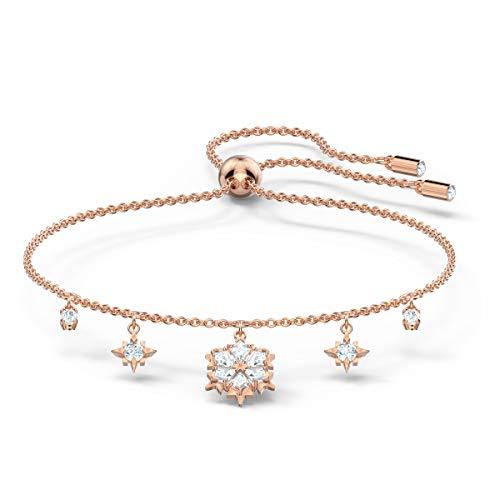 Swarovski Magic Armband, Rosé Vergoldetes Damenarmband mit Eleganten Schneeflocken-Anhängern und Funkelnden Weißen Kristallen