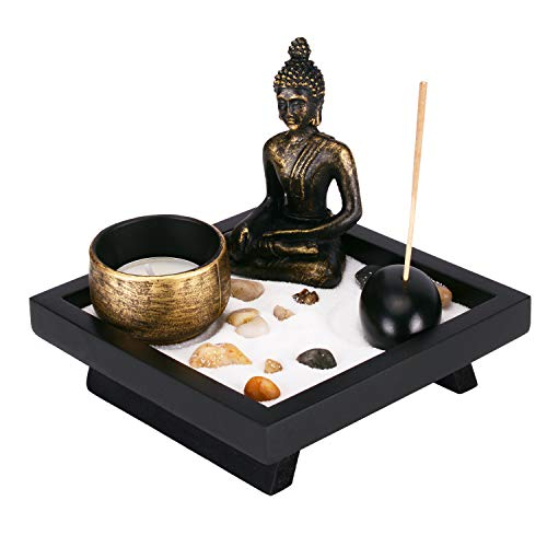 Leego Mini Meditation Zen Garden Set,4.9 Inches x 4.9 Inche Buddha Statue Figurine with Incense Stick,Candle for Home, Patio, Office Decor and Stress Reliever, Meditation, Relaxation Gift