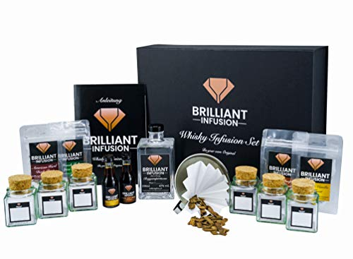 BRILLIANT INFUSION | DIY Whisky Infusion Set MIT ALKOHOL (45% vol. alc) zum Whisky-Geschmack selber-machen | KOMPLETTSET in hochwertiger Box | Whiskey-Tasting Probierset für zu Hause & als Geschenk