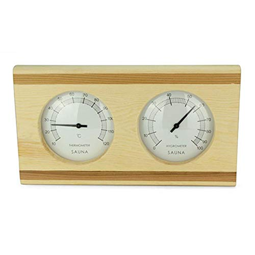 Adminitto88 Sauna Thermohygrometer Thermometer - Hygrometer Kombination I Nachjustierbar I Nebeneinander Angeordnet I In Schönem Holzrahmen I Sauna I Saunazubehör, Holzsauna Thermometer Hygrometer