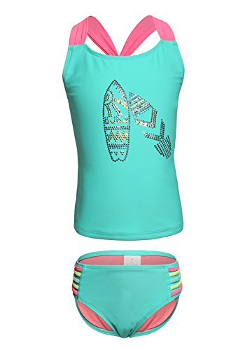 OUO Mädchen Bademode Zweiteiliger Tankini Two Piece Badeanzug Baby Bikini Set Blau in L