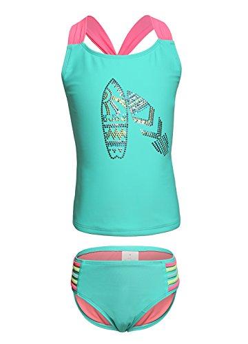 OUO Badeanzug Mädchen Bademode Zweiteiliger Tankini Two Piece Bademode Baby Bikini Set Blau in XL