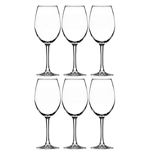 Modvera Stemmed Wine Glass 16 Ounce | Lead Free Crystal Clear Classic Design | Perfect for Red Wines & White Wines at Your Next Elegant Dinner Party or Event | Elongated Bowl Design | Set of 6