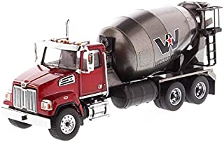 Diecast Masters Western Star 4700 SF Concrete Mixer Metallic Red with Gray Body 1/50 Diecast Model