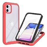 TTNAO Funda iPhone 11 360 Grados con Protector de Pantalla Incorporado Case Crystal Clear Carcasa [Antigolpes] [Anti-arañazos] Cover-Rojo