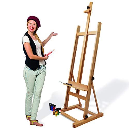 Artina Caballete de Pintura Profesional Siena - Caballete de Madera – Caballete de Estudio - Madera de Haya lubrificada - Muy Estable