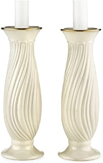 Lenox Housewarming Ivory China Gold Banded Pair of Candlesticks