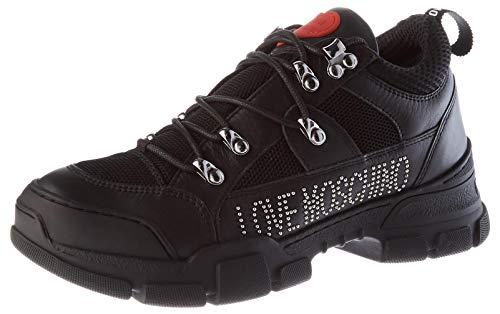 Love Moschino JA15434G0BJA5, Baskets Femme, Noir, 41 EU
