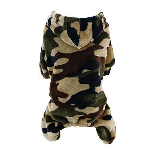 Casaco com capuz para filhotes de cachorro com quatro pernas Handfly Pet Dogs casaco quente outono inverno flanela casaco para cães fantasia espessa estampa camuflagem