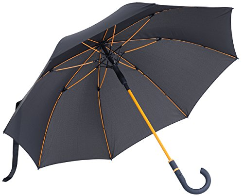 vanVerden - Automatik Regenschirm - Sturmfest (TÜV geprüft), Windfest, Leicht, Stabil - Fiberglas Rahmen 112cm Durchmesser, 90cm Länge, Farbe:Anthracite/Orange