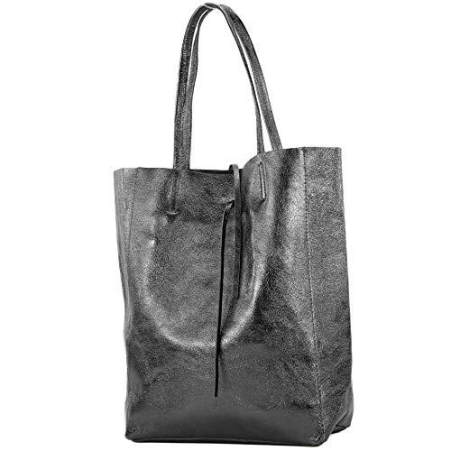 modamoda de - T163 - Ital. Shopper Large mit Innentasche aus Leder, Farbe:Anthrazit-Metallic