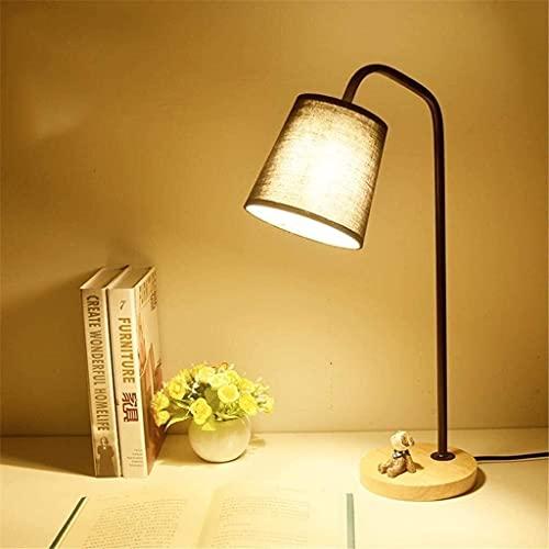 Rnwen Lámpara de Mesa de Madera Creativa lámpara de Mesa de Hierro de Lectura Escritorio Mesa de Estudio mesita de Noche atenuación de la luz lámpara de Mesa Peque?a 001