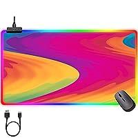 マウスパッド RGBマウスパッドパターンカラフルな大きなゲームマウスマットLED耐久性のあるステッチエッジ、USB 14照明モードが付いているラップトップキーボードマウスパッド xxxl 1000x500mm