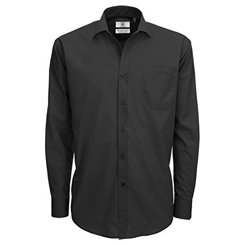 B&C Collection Herren Modern Business-Hemd Gr. L, schwarz