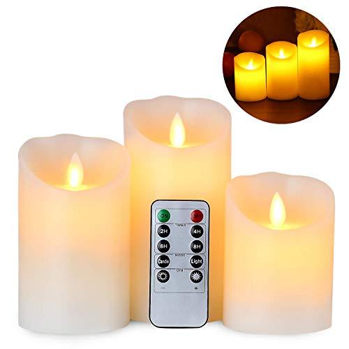 Gr4tec 3er Set Flammenlose LED Kerzen Echtwachskerze mit beweglicher Flamme Timerfunktion mit Fernbedienung Elektrische Batteriebetriebene Kerze Lampe Schlafzimmer Geburtstags 10cm 12,5cm 15cm Hoch