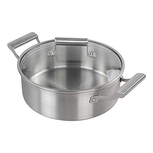 Doryh 5 Layers Nonstick Stock Pot/Stockpot with Glass Lid 18/10 Stainless Steel Dutch OvenpotSilver