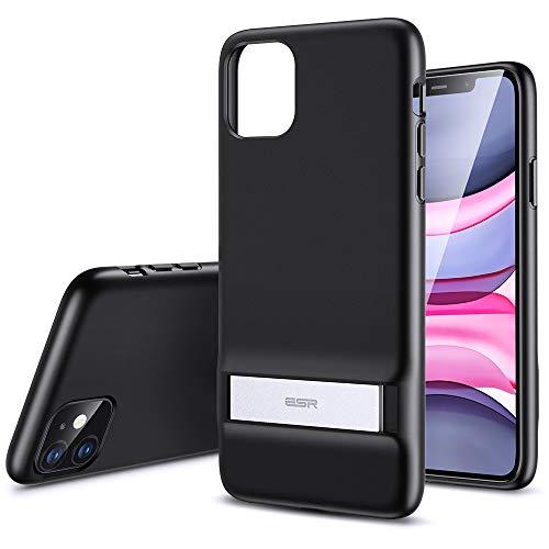 ESR Metall Ständer Entwickelt für iPhone 11 hülle [Vertikaler & Horizontaler Standmodus] [Verstärkter Fallschutz] - Flexible weiche TPU Rückseite für iPhone 11 (2019)-Schwarz