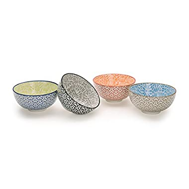 Signature Housewares Pad Print Bowls - PP2 Set of 4 Assorted 4.5-Inch Bowls, 12 oz