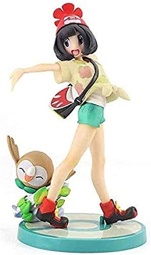 Selene avec Rowlet-Modelo de personaje de PVC-Decoración del hogar-Coche-Regalo de cumpleaños Tamaño 19cm