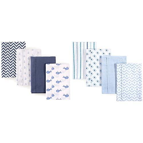 Hudson Baby Boy Cotton Flannel Oklahoma San Antonio Mall City Mall Whale Cloth Modern Burp 8-Pack