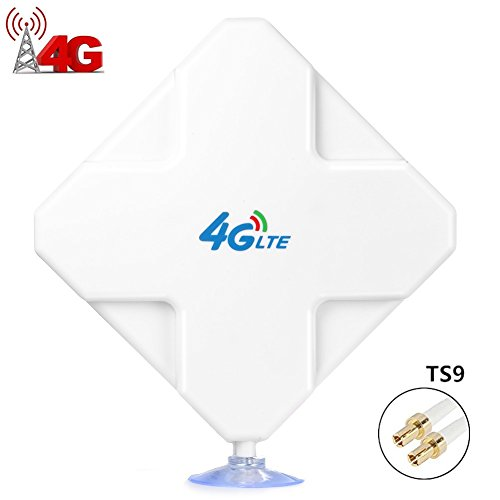TS9 4G Hochleistungs LTE Antenne 35dBi, Dual Mimo Verstärker-Antenne Signalverstärker für WiFi Router Mobiles Breitband, Huawei E5372 E398 E3276 E392 E3272 E8278 R212 MF93 R215 etc (TS9)