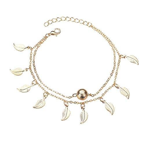 TENGCHUANGSM Bracelet de cheville tendance doré et argenté pour femme - Chaîne réglable - Accessoire de plage pour pieds nus - Sandales