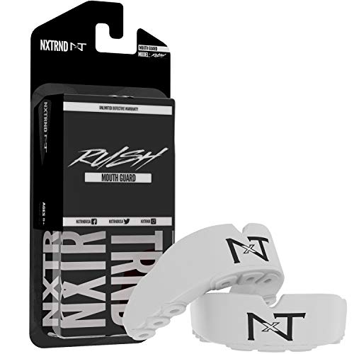 2 Pack Nxtrnd Rush Mouth Guard Sports – Professional Mouthguards for Boxing, Football, MMA, Wrestling, Lacrosse, and Other Sports, Fits Adults and Youth 11+, Mouth Guard Case Included (All White)