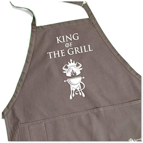 Purchase ApronMen King of The Grill Apron - BBQ Crest - 1 Size Fits All Adjustable Strap - Gray Colo...