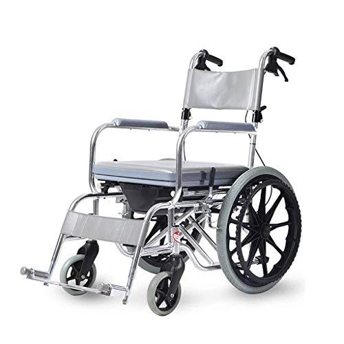 Wohnaccessoires Einfache Idee Rollstuhl mit Toilettensitz Klappbarer Stuhl Medizinischer Pflegewagen Wasserdichter Duschstuhl Vollreifen Maximale Tragfähigkeit 220 lbs Einfach zu bedienendes TC Gra