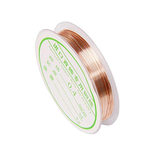WSJKL 10m 0.4 0.6 0.8mm Rose Oro Color de Plata Alambre de Cobre para Collar de Pulsera DIY Colorfast Beading Wire Beyry Cord Catch Craft (Color : Rose Gold Color, Size : 0.8MM)