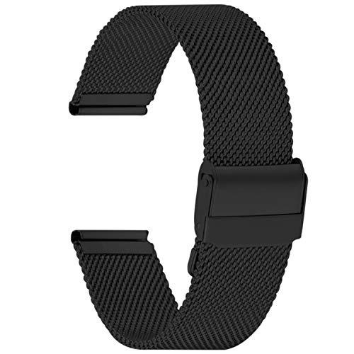 Fullmosa 22mm Uhrenarmband,Edelstahl Mesh Loop Ersatzband für Samsung Watch/Huawei Watch,22mm Schwarz