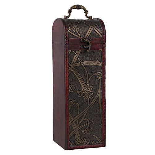 BQLZR Boîte à bouteille de vin vintage en bois naturel pour 1 bouteille Coffret cadeau cylindrique rectangulaire avec poignée Motif jonquilles