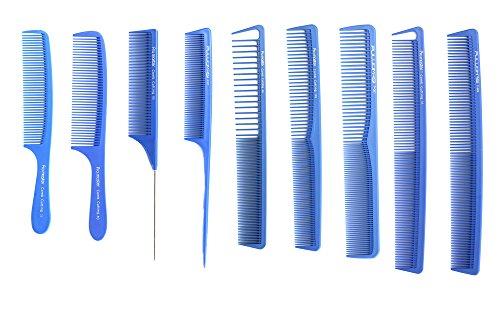 Peigne de coupe Bleu professionnelle 9 pcs Cheveux Salon Collection