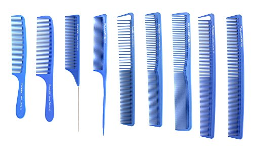 Peigne de coupe Bleu professionnelle 9 pcs Cheveux Salon Collection