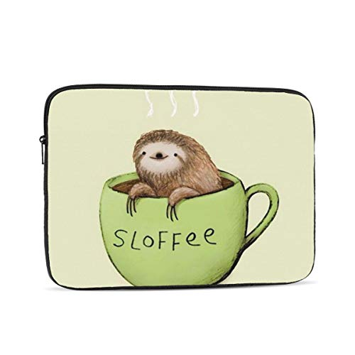 NFDF Sloth Coffee Cup 13 Inch Zipper Laptop Sleeve Bag - Sloth Coffee Cup Carring Case Cover Protector Handbag for MacBook/Notebook/Ultrabook