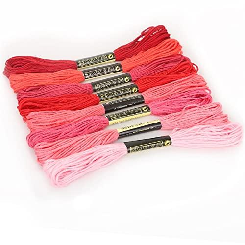Landia Juego de 8 piezas de hilo de hilo de punto de cruz de algodón para coser madejas de hilo de bordado, hilo de hilo de bordar, herramientas de costura para manualidades
