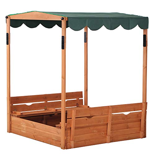 Kcelarec Covered Convertible Wooden Sandbox with Canopy and Bench Seats