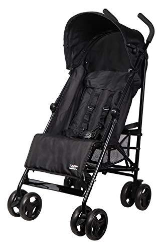 Ding GoGo Kinderwagen, Reisebuggy, Buggy mit Liegeposition, zusammen faltbar, mit Sonnenschutz und Einkaufskorb, ab 6 Monaten, schwarz