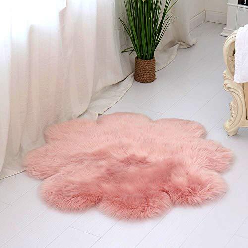 DQMEN Piel de Cordero Oveja/Sheepskin Rug Cordero, imitación mullida Alfombras imitación Piel sintética Deko Piel,para salón Dormitorio baño sofá Silla cojín (Rosa, 60 X 60 CM)