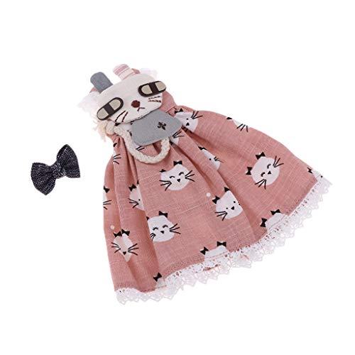 perfeclan Süsser Kitty Bedruckter Rock & Headwear Set Für 1/6 Blythe Puppe Verkleiden Sich Gelb - Rosa