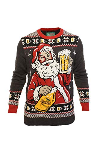 Ugly Christmas Sweater Company Men's Assorted Light-Up Xmas Crew Neck Sweaters with Multi-Colored LED Flashing Lights, Black Heather Santa Beer and Growler, Small