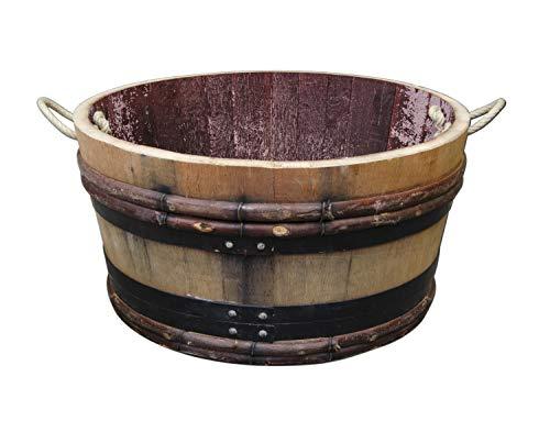 Temesso Altes Weinfass halbiert aus Eichenholz Bordeaux Rustique -als Pflanzkübel oder Miniteich (mit Halteschlaufen und Rollen)