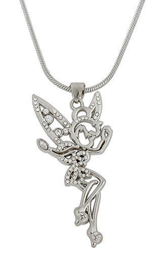 Lemegeton Halskette mit Anhänger Tinkerbell Fee Engel mit Kristall-Flügeln, für Teenager Mädchen und Damen