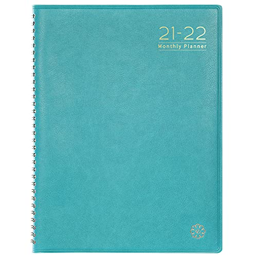 """2021-2022 Monthly Planner/Calendar - Monthly Planner 2021-2022 with Tabs, Jul. 2021 - Dec. 2022, Leather Calendar Planners, Twin-Wire Binding and Double Side Clear Inner Pocket 9"""" x 11"""", Plain/Blank Writing Blocks"""