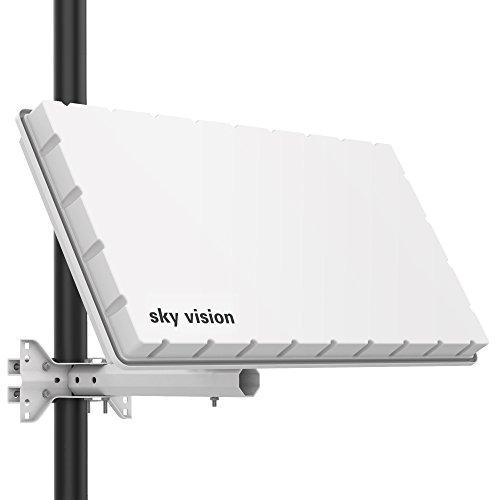 sky vision Flat H39 DS SAT Flachantenne (Flache Satellitenschüssel für 2 Teilnehmer, mit Twin-LNB) - SAT Antenne flach mit Halterung für Wand oder Mast, ersetzt SAT Schüssel 60 cm, weiß