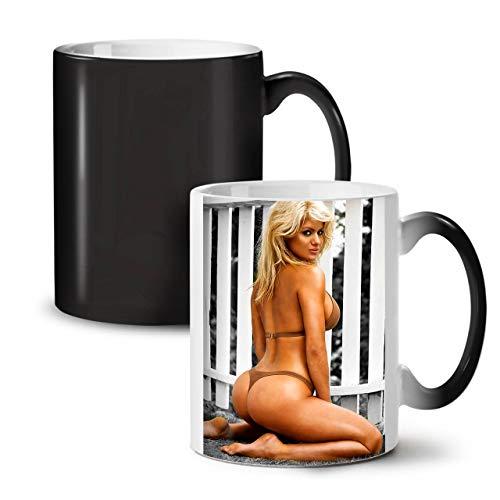 Sexy Bikini Frau Farbwechselbecher, Dame Tasse - Großer, Easy-Grip-Griff, Wärmeaktiviert, Ideal für Kaffee- und Teetrinker von Wellcoda