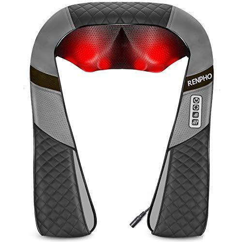 RENPHO Massagegerät Schulter Nackenmassagegerät mit Wärme, Shiatsu Massagegerät mit 3D-Massage von tiefem Gewebe, Muskelschmerzlinderung für Nacken, Rücken, Schulter, Beine, Füße