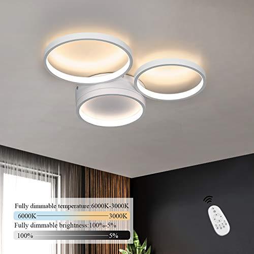 ZMH LED Deckenleuchte dimmbar mit Fernbedienung 38w 43.5cm weiße Wohnzimmerlampe aus Metall und Acryl moderne Deckenbeleuchtung Ring-Design für Schlafzimmer Wohnzimmer Esszimmer Büro Flur Balkon