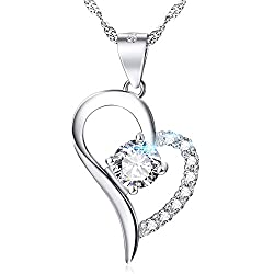 YFN White Gold Plated Heart Necklace Sterling Silver Love Promise Jewelry for Women Wife Girlfriend Daughter Aunt